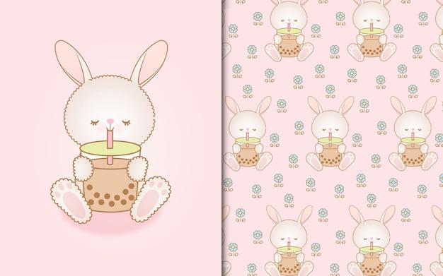 Милый кролик каваи пьет безалкогольный напиток и бесшовный фон
