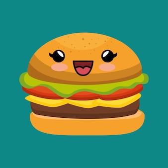 Милый kawaii burger yummy фаст-фуд