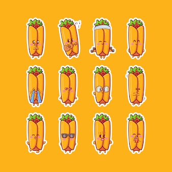 Cute kawaii burrito character sticker illustration set with various activity and happy expression