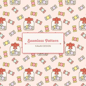 Cute kawaii candy seamless pattern