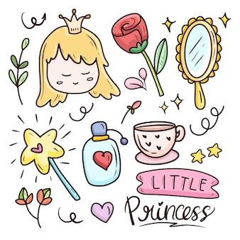 Cute kawaii cartoon set item with princess  illustration