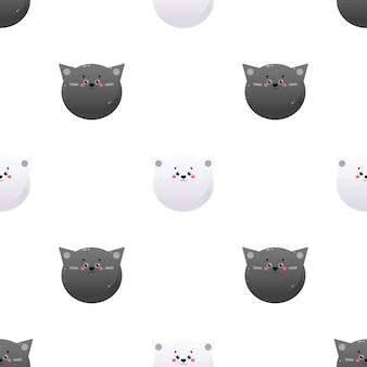 Cute kawaii cat. animal seamless pattern.