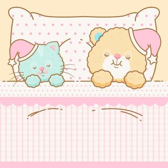 Cute kawaii cat and bear sleeping