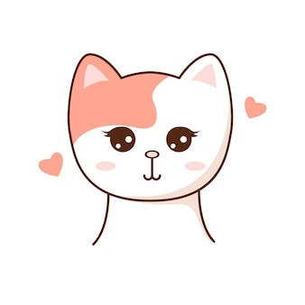 Cute kawaii cat cahracter children style vector illustration sticker isolated design element for