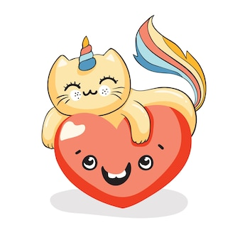 Cute kawaii cat, cat unicorn on the smiling heart, vector illustration eps 10