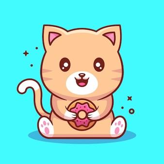 Cute kawaii cat holding donut cartoon vector icon illustration premium pet vector in flat style
