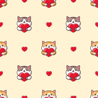 Cute kawaii cat hugging a red heart seamless pattern