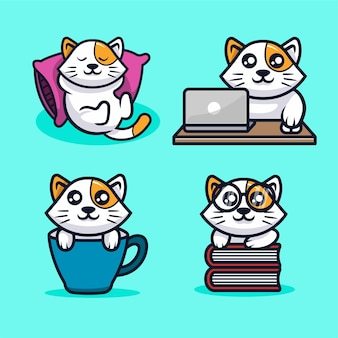 Милый кот каваи талисман векторный дизайн иллюстрация
