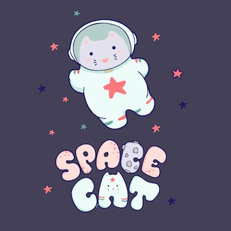 Cute kawaii cat travels in space and the inscription lettering