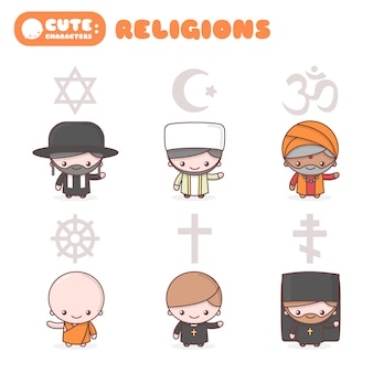Cute kawaii characters set: people of different religions. judaism rabbi. buddhism monk. hinduism brahman. catholicism priest. christianity holy father. islam muslim. religion symbols.