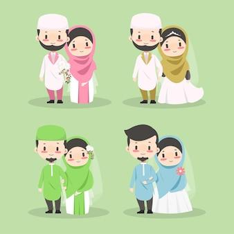Cute kawaii chibi couple muslim wedding