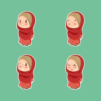 Cute kawaii chibi muslimah emoji character