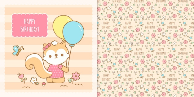 Cute kawaii chipmunk with transparent seamless pattern