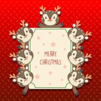 Cute kawaii christmas card with a transparent seamless pattern