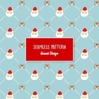 Cute kawaii christmas transparent seamless pattern