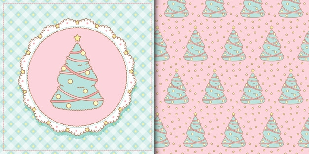 Cute kawaii christmas tree and seamless pattern