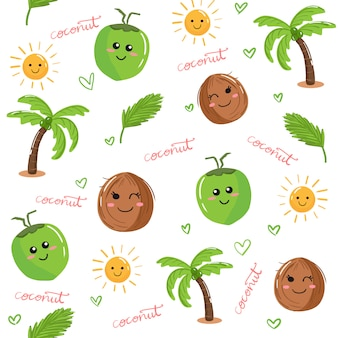 Cute kawaii coconut fruit and palm tree doodle seamless pattern background vector.