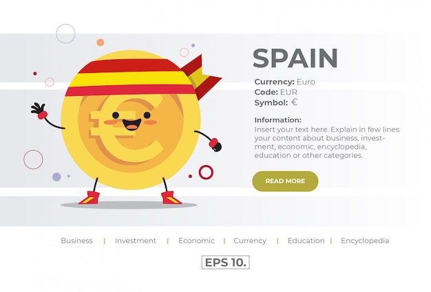 Cute kawaii coin character illustration concept of eur euro from spain