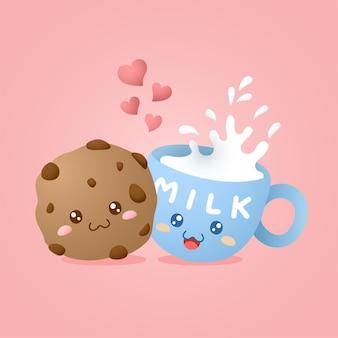 귀여운 카와이 쿠키와 우유 캐릭터