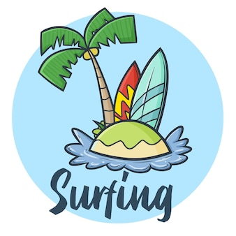 야자수와 두 개의 서핑 보드가있는 귀여운 카와이 멋진 섬