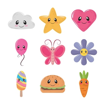 Cute kawaii decoration cloud star heart butterfly and more icons