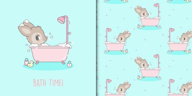 Cute kawaii deer taking a bath and seamless pattern