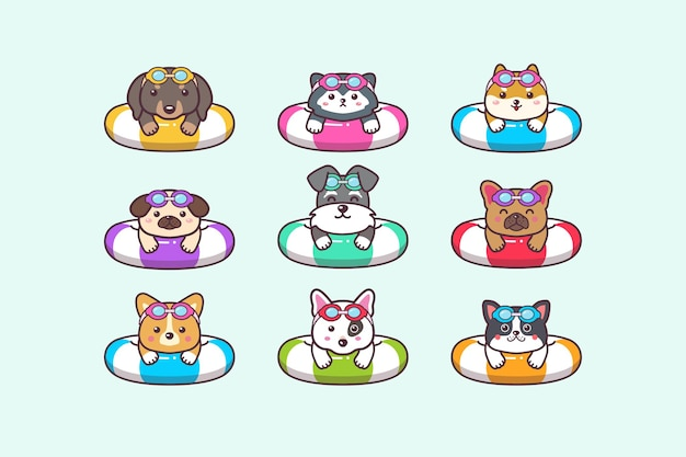 Cute kawaii dog summer animals swimming with swimming ring buoy and swimming goggles