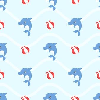 Cute kawaii dolphin and beach ball seamless pattern
