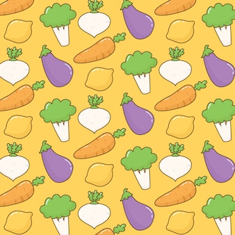 Cute kawaii doodle vegetables pattern