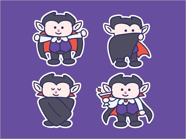 Cute and kawaii dracula sticker illustration set