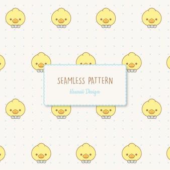 Cute kawaii ducks   seamless pattern