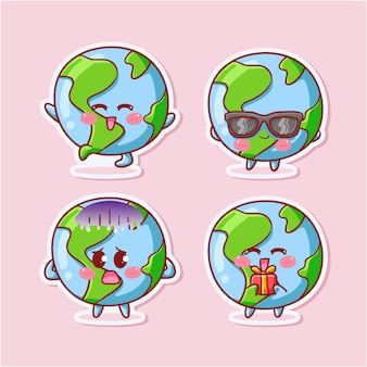 Cute and kawaii earth globe sticker set with various activity and expression