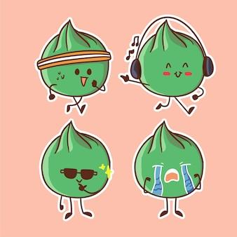 Cute and kawaii edamame bean character illustration