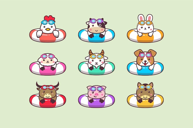 Cute kawaii farm summer animals swimming with swimming ring buoy and swimming goggles