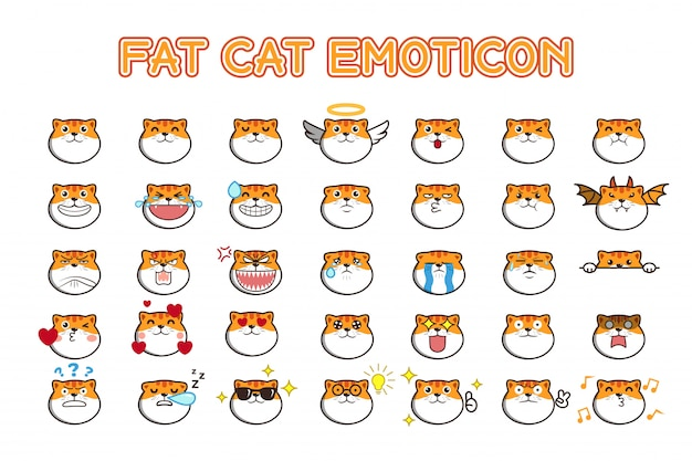 Cute kawaii fat cat emoticon social media stickers