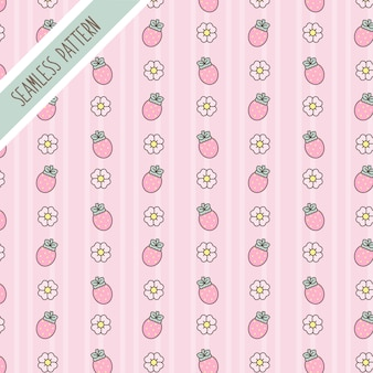 Cute kawaii floral and strawberries seamless pattern