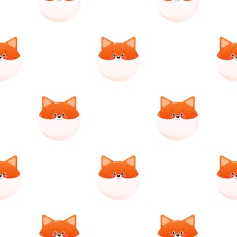 Cute kawaii  fox. animal seamless pattern.