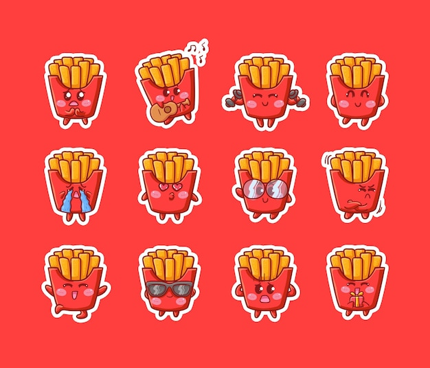 Cute kawaii french fries character sticker illustration various happy expression activity mascot