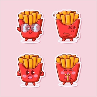 Cute and kawaii french fries sticker set with various activity and expression