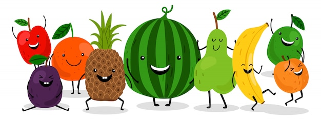 Cute kawaii fruits characters  set. happy fruits illustration