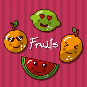 Cute kawaii fruits set smiling healthy food