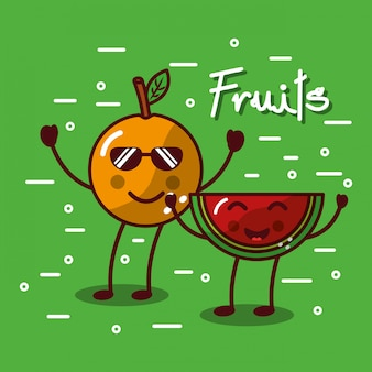 Cute kawaii fruits set smiling healthy food