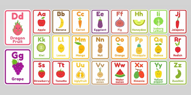 Cute kawaii fruits and vegetables alphabet letter for kids