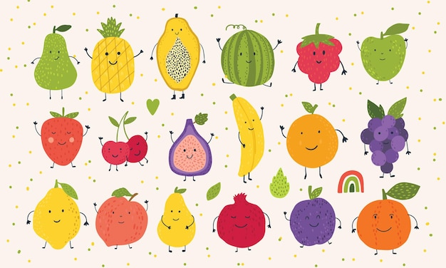 Cute kawaii fruts with smiling faces fruit set watermelon apple pear peach grapes and others