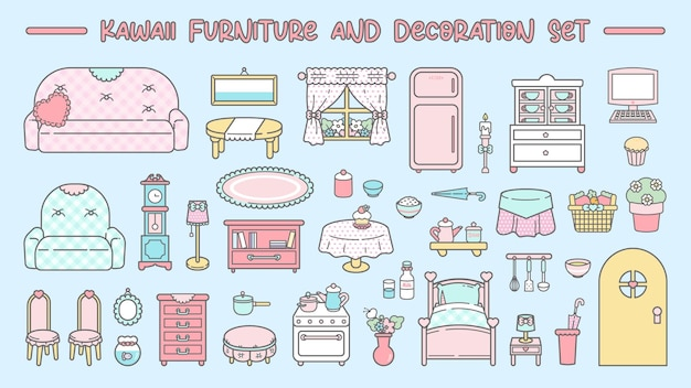 Cute kawaii furniture and decoration set