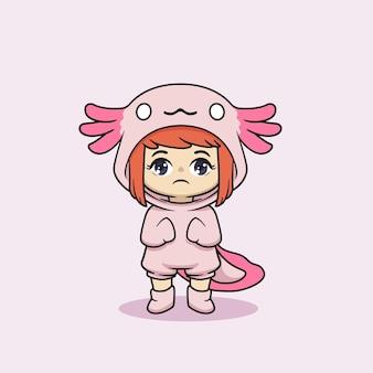 Cute kawaii girl in axolotl costume character