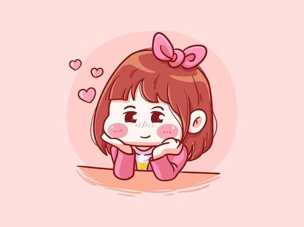 Cute and kawaii girl fall in love manga chibi illustration