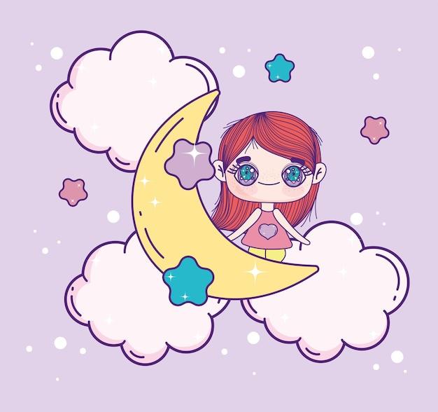 달에 귀여운 귀여운 소녀