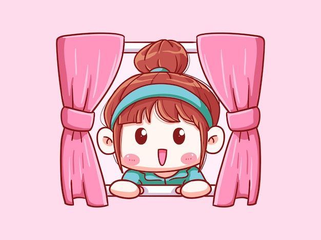 Cute and kawaii girl open window in the morning chibi illustration