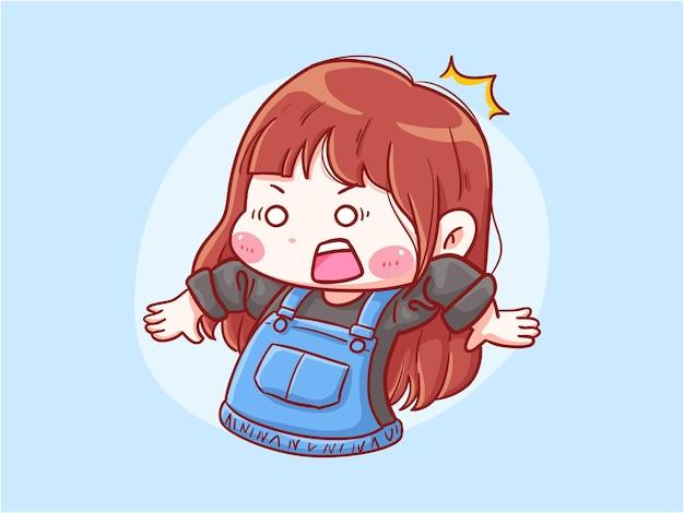 Cute and kawaii girl shocked and surprise manga chibi